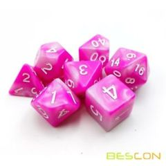 Bescon Gemini Two Tone Polyhedral RPG Dice Set 17323 Pink Blossom