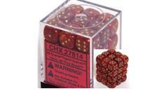 Chessex 36 12mm d6 - Scarlet w/Gold Scarab CHX 27814