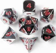 Red and Silver Metal Dice Set