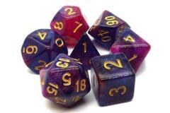 Old School: Galaxy 7-Die Polyhedral Set Purple & Red (OSDRPG-121)