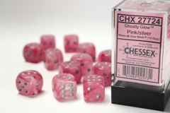 Ghostly Glow 16mm Pink/Silver D6 Dice Block (12ct) (27724)