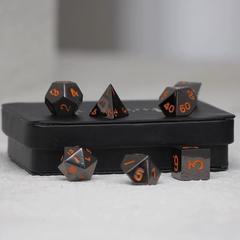 Gun Metal Polyhedral w/Display Case: Pink Numbering Orange