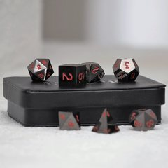Gun Metal Polyhedral w/Display Case: Red Numbering