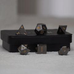 Gun Metal Polyhedral w/ Display Case: Gold Numbering
