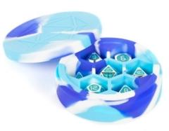 MDG Silicone Round Dice Case - Blue/White/Light Blue