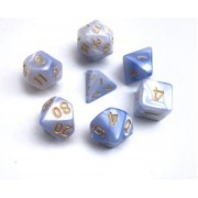 (Light blue+white) Blend  Dice  Set  7pcs