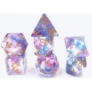 (Blue+Purple) Pearl  Swirl Dice Set  7pcs