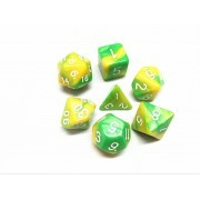(Green+yellow) Blend  Dice  Set  7pcs