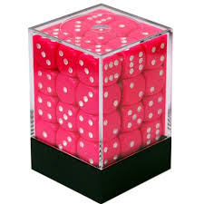 36 Pink w/white Opaque 12mm D6 Dice Block - CHX 25844