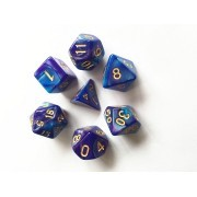 (Blue+ Deep Purple) Blend  Dice  Set  7pcs