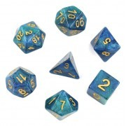 (Blue+Green) Galaxy Dice Set  7pcs