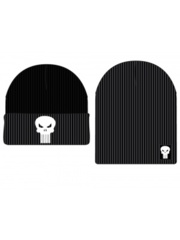 MARVEL - PUNISHER - Reversible Black Embroidered Cuff Beanie