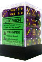 26834 - D6 Cube 12mm: Gemini - Green-Purple w/Gold