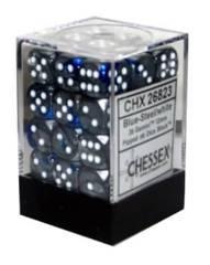 26823 - D6 Cube 12mm: Gemini - Blue-Steel w/White