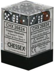 26824 - D6 Cube 12mm: Gemini - Copper-Steel w/White