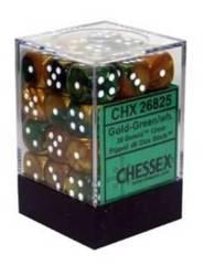 26825 - D6 Cube 12mm: Gemini - Gold-Green w/White