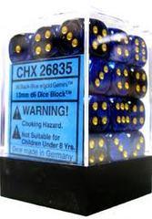 26835 - D6 Cube 12mm: Gemini - Black-Blue w/Gold