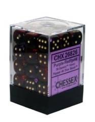 26826 - D6 Cube 12mm: Gemini - Purple-Red w/Gold