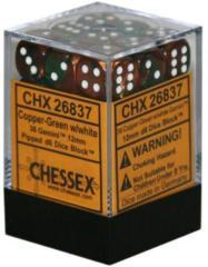 26837 - D6 Cube 12mm: Gemini - Copper-Green w/White