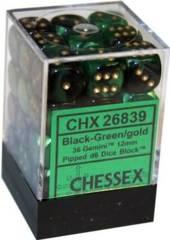 26839 - D6 Cube 12mm: Gemini - Black-Green w/Gold