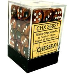 26827 - D6 Cube 12mm: Gemini - Black-Copper w/White