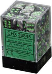 26845 - D6 Cube 12mm: Gemini - Black-Green w/Green