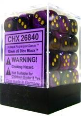 26840 - D6 Cube 12mm: Gemini - Black-Purple w/Gold