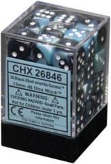 26846 - D6 Cube 12mm: Gemini - Black-Shell w/White