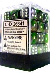 26841 - D6 Cube 12mm: Gemini - Green-Steel w/White