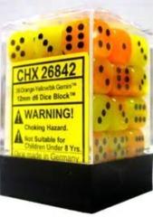 26842 - D6 Cube 12mm: Gemini - Orange-Yellow w/Black