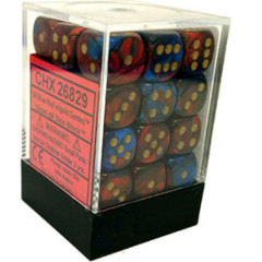 26829 - D6 Cube 12mm: Gemini - Blue-Red w/Gold