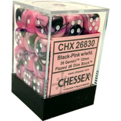 26830 - D6 Cube 12mm: Gemini - Black-Pink w/White