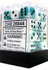 26844 - D6 Cube 12mm: Gemini - White-Teal w/Black