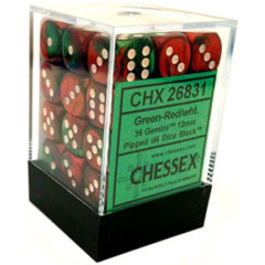 26831 - D6 Cube 12mm: Gemini - Green-Red w/White