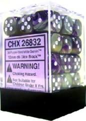 26832 - D6 Cube 12mm: Gemini - Purple-Steel w/White