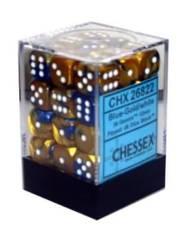 26822 - D6 Cube 12mm: Gemini - Blue-Gold w/White
