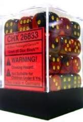 26833 - D6 Cube 12mm: Gemini - Black-Red w/Gold