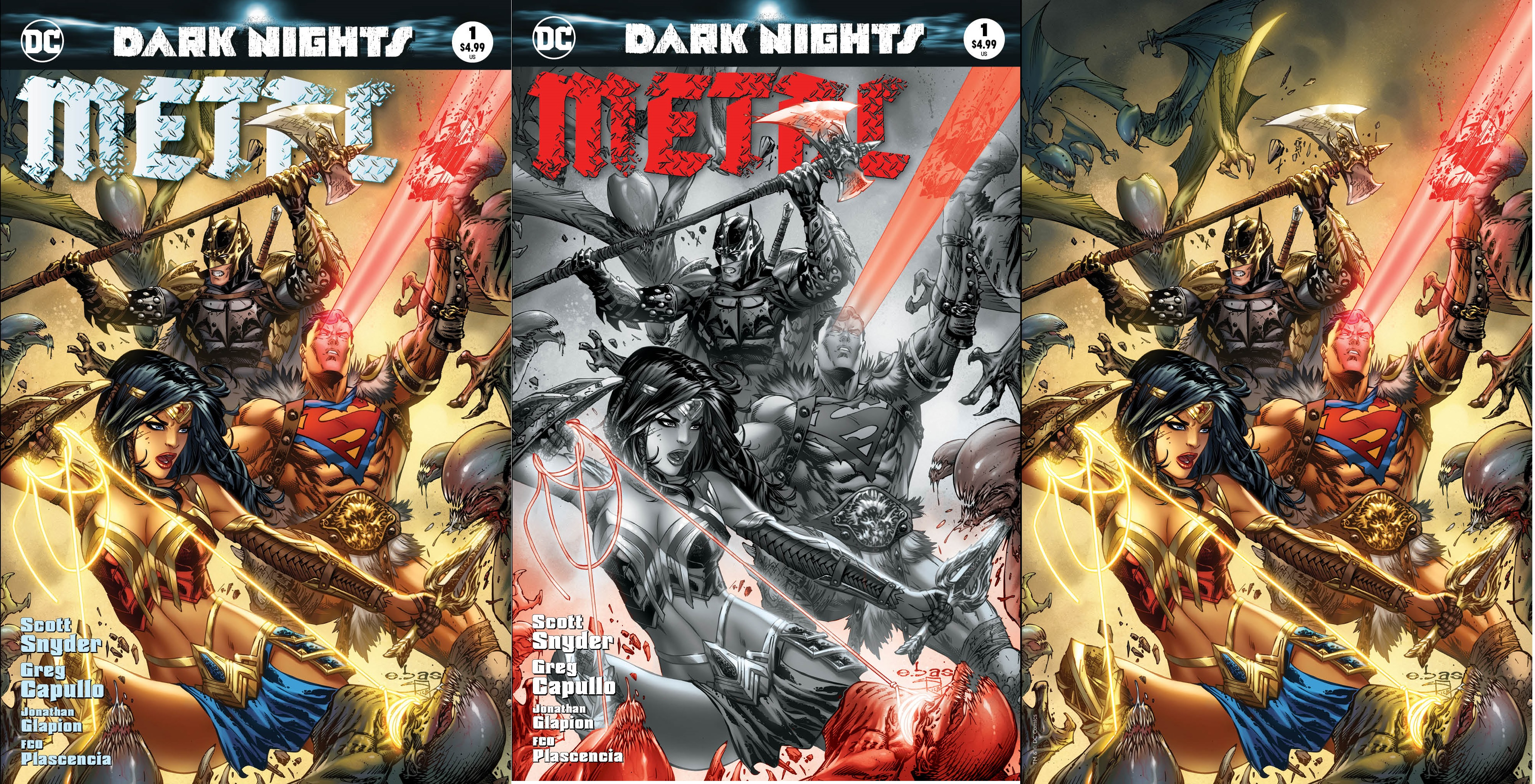 Dark Nights Metal #1 Most Good Exclusive EBAS Color B/W & Virgin Variant Set
