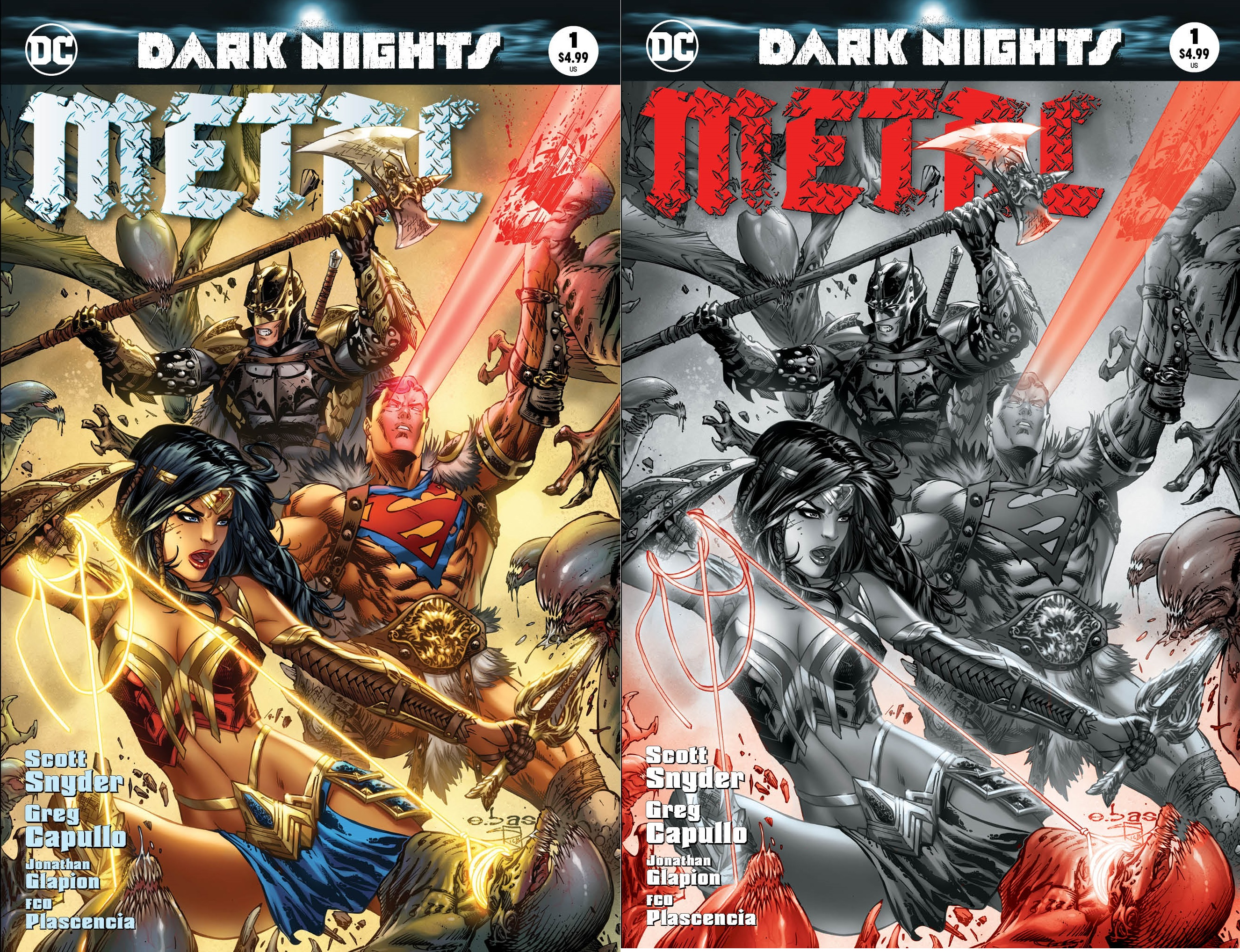 Dark Nights Metal #1 Most Good Exclusive EBAS Color & B/W Variant Set