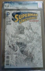Superman Unchained #8 1:100 Lee Sketch Variant CGC 9.6