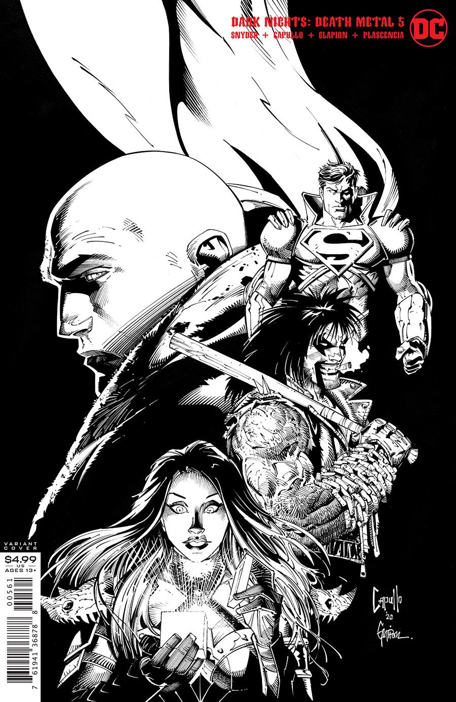 Dark Nights Death Metal #5 (Of 7) Cover F 1:100 Greg Capullo & Jonathan Glapion B/W Variant
