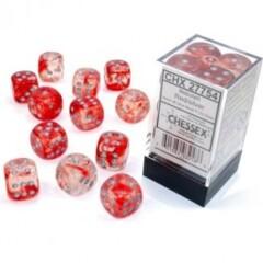 12 16mm Nebula Red w/Silver Luminary D6 Dice Set - CHX27754