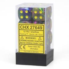 12 16mm Rio w/Yellow Festive D6 Dice Set - CHX27649