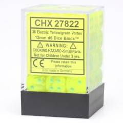 36 Electric Yellow w/Green Vortex 12mm D6 Dice Block - CHX27822
