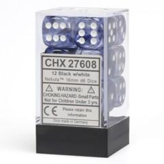 12 16mm Black w/White Nebula D6 Dice Set - CHX27608
