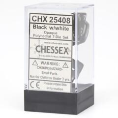 7 Black w/White Opaque Dice Set - CHX25408