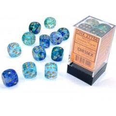 12 16mm Nebula Oceanic w/Gold Luminary D6 Dice Set - CHX27756