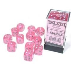 12 16mm Borealis Pink w/Silver Luminary D6 Dice Set - CHX27784