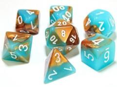 Gemini Copper-Turquoise/white 7-Die Set Lab Dice