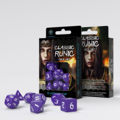 Classic Runic 7-Die Set: Purple & White